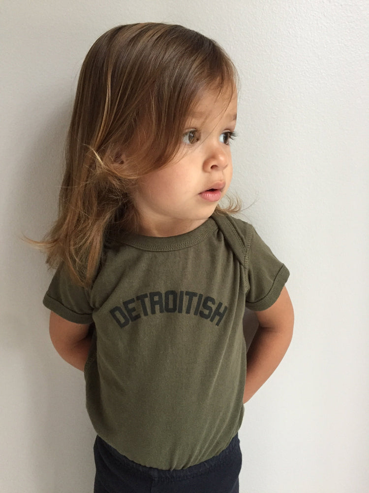 Detroitish Baby Onesie - Military Green - The Great Lakes State