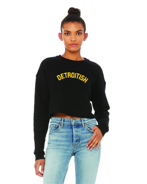 Detroitish Women's Cropped Fleece Crewneck Sweatshirt - Black with Gold Foil
