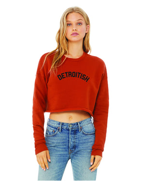 Detroitish Women's Cropped Fleece Crewneck Sweatshirt - Brick