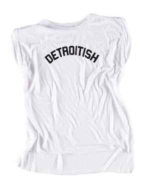 Detroitish Women's Flowy Muscle T-Shirt Rolled Cuff