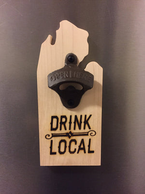 Drink Local Michigan Mitten Shaped Bottle Opener