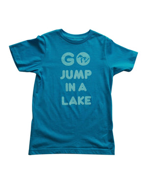 Go Jump In A Lake - Kids T-Shirt - Vintage Turqoise