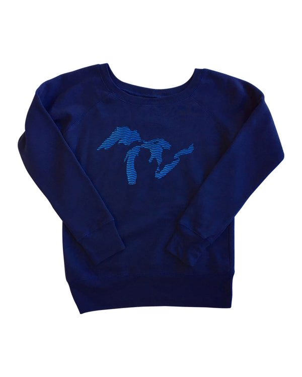 Great Lakes Waves - Ladies Wide Neck Sponge Fleece Sweatshirt
