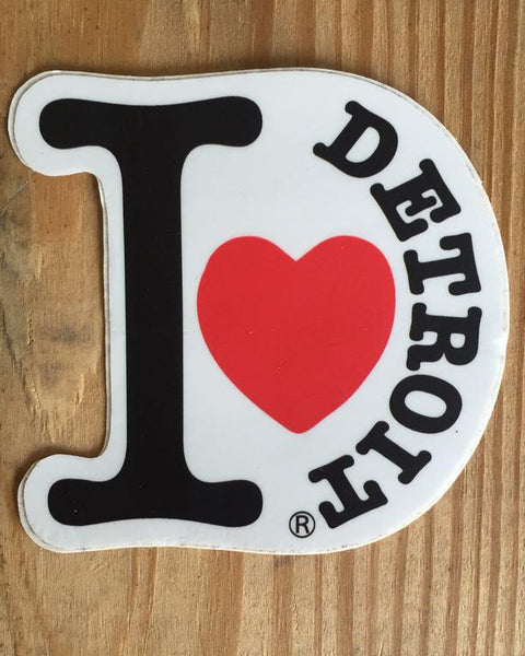 I love detroit die cut bumper sticker the great lakes state