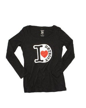 I Love Detroit - Women's Long Sleeve T-Shirt - Charcoal Black