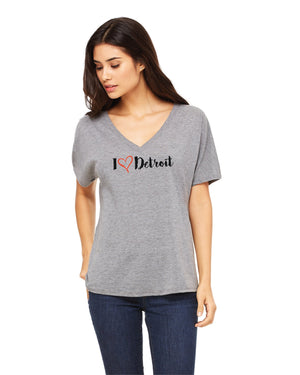I Love Detroit - Women's Slouchy V-Neck T-Shirt - Grey