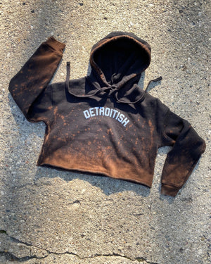 Limited Edition Reverse Dye Detroitish Fleece Crop Hoodie - Black