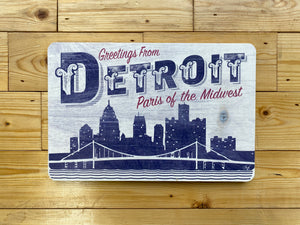 "DETROIT Paris of the Midwest 12""x 8"" rustic wood sign"
