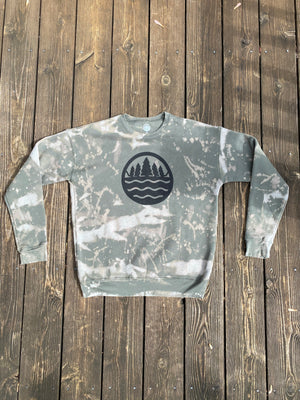 The Great Lakes State Logo - Unisex Fleece Sweatshirt - Reverse Tie Dye Military Green