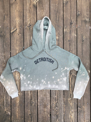 Limited Edition Reverse Dye Detroitish Fleece Crop Hoodie - Military Green