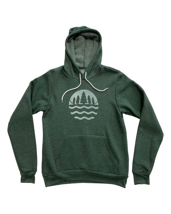 The Great Lakes State Logo Hoodie - Heather Forest Green
