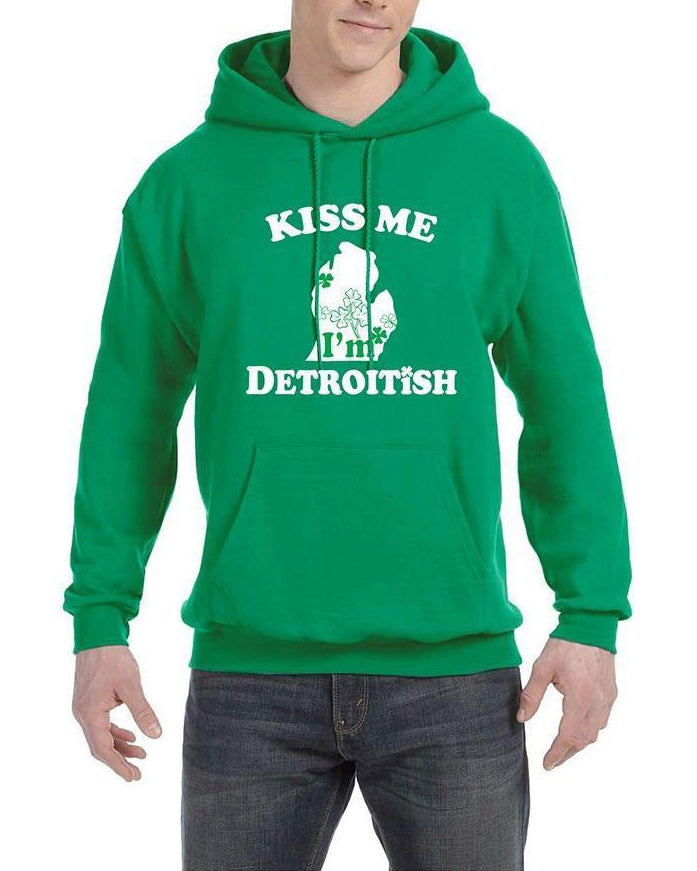 Kiss Me I'm Detroitish - Hoodie - Heather Green