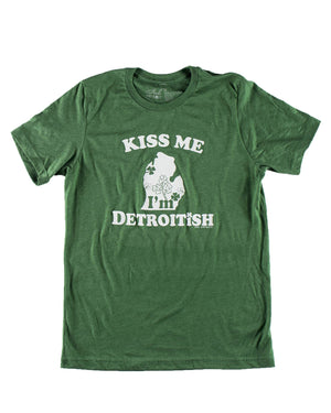Kiss Me I'm Detroitish - Unisex Short Sleeve T-Shirt - Heather Green