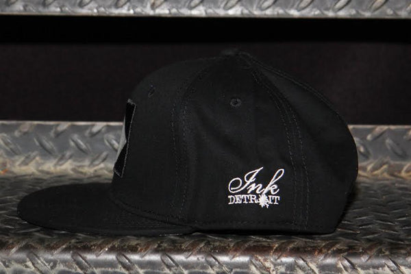 M1 - Flat Bill Puff Print Snap Back Hat - Black / White - The Great Lakes State