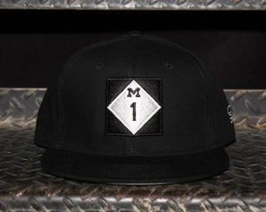 M1 - Flat Bill Puff Print Snapback Hat - Black / White
