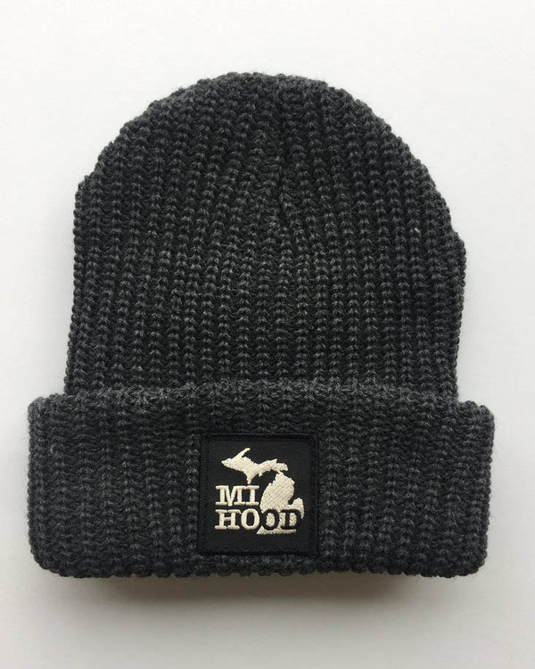 MI Hood Charcoal Cuffed Beanie - The Great Lakes State
