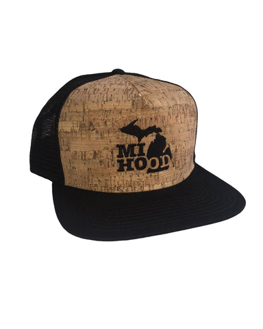 MI Hood Cork & Black Mesh Snapback - The Great Lakes State