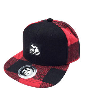MI Hood Plaid Lumberjack Snapback Hat - The Great Lakes State