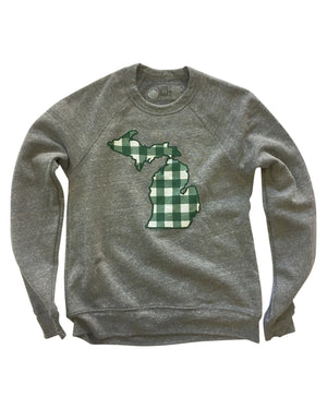 Michigan Buffalo Plaid Flannel Crewneck Sweatshirt - Green and White