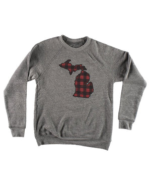 Michigan Buffalo Plaid Flannel Crewneck Sweatshirt - Heather Grey