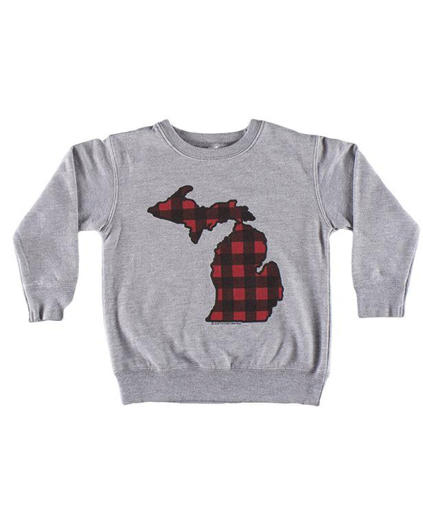 Michigan Buffalo Plaid Flannel Kids Sweatshirt - Heather Grey