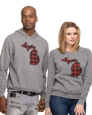 Michigan Buffalo Plaid Flannel Womens Junior Fit Sweatshirt - Heather Grey