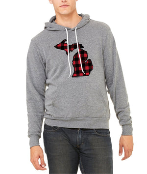 Michigan Buffalo Plaid Hoodie - Heather Grey