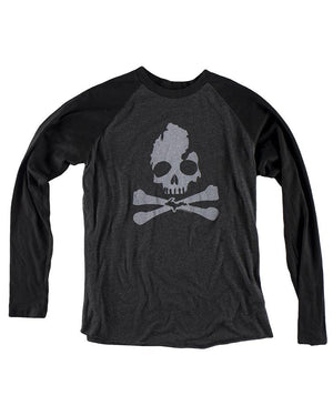 Michigan Skull & Bones Long Sleeve Raglan Baseball T-Shirt