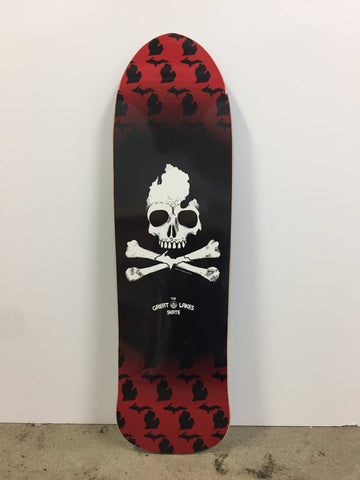 Michigan Skull & Bones Old School Skate Deck - The Great Lakes State