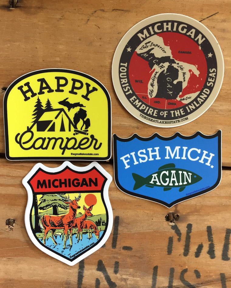Michigan Vintage Sticker pack of 4