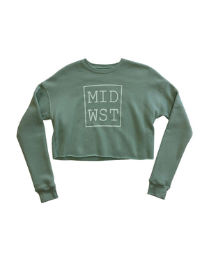 MID WST Women's Cropped Long Sleeve Fleece Crewneck Sweatshirt - Dusty Blue