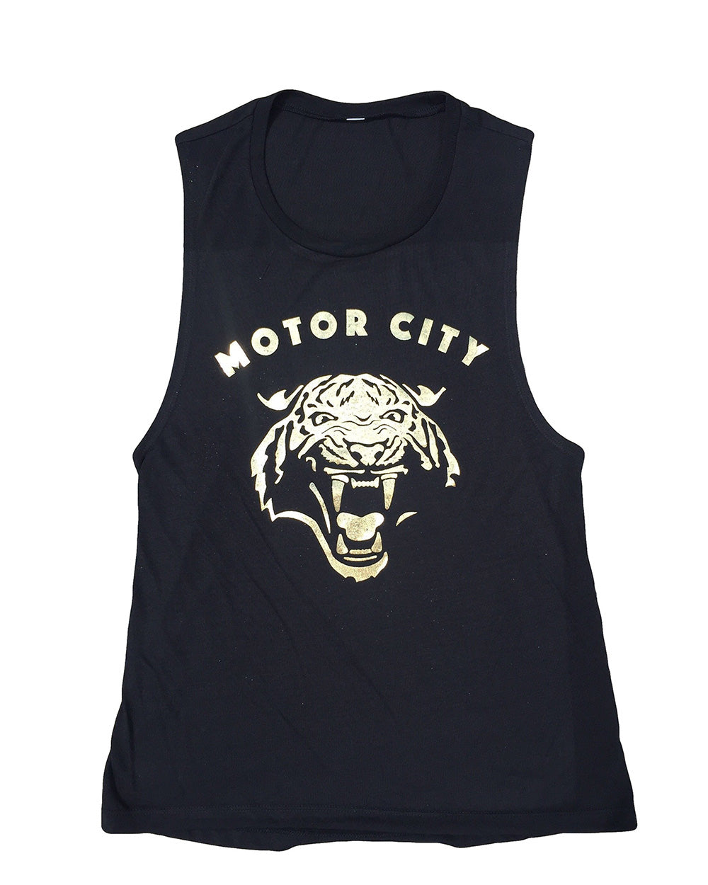 Motor City Cat - Women's -  Gold Foil Muscle Tank Top - Black - The Great Lakes State
