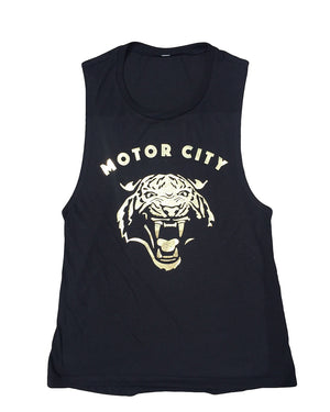 Motor City Cat - Women's -  Gold Foil Muscle Tank Top - Black