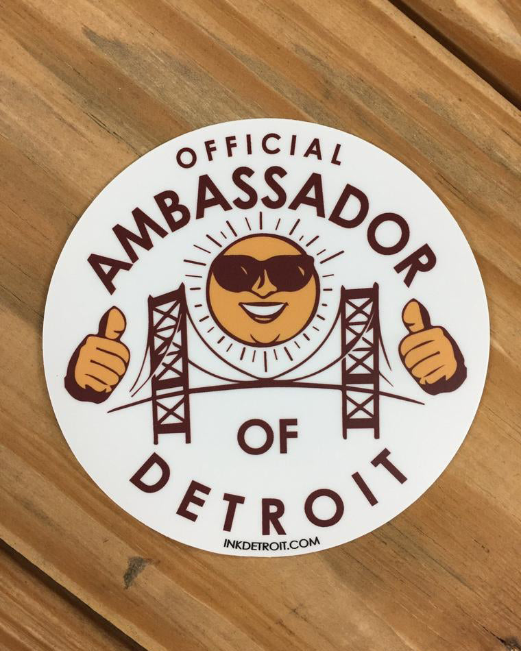 Official ambassador of detroit vinyl die cut bumper sticker the great lakes state