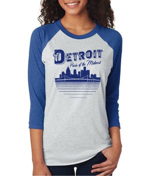 Paris of the Midwest Unisex and Ladies 3/4 Long Sleeve Baseball T-Shirt - The Great Lakes State