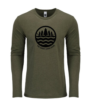 The Great Lakes State Logo Long Sleeve T-Shirt - Military Green