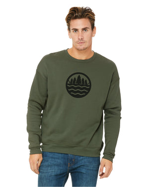 The Great Lakes State Logo - Unisex Fleece Sweatshirt - Military Green
