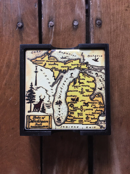 Vintage Michigan map coasters - The Great Lakes State