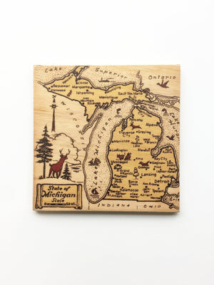 Vintage Michigan Map Wood Sign