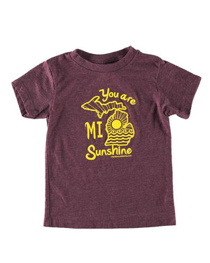You Are MI Sunshine - Kids T-Shirt - Heather Maroon