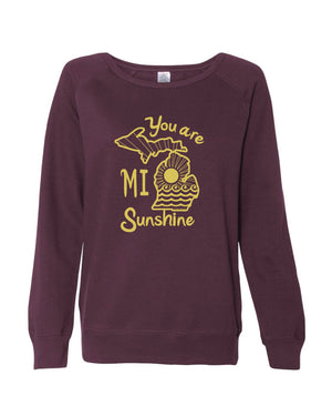 You are MI Sunshine Ladies Junior Fit Wideneck Sweatshirt - Light Blackberry