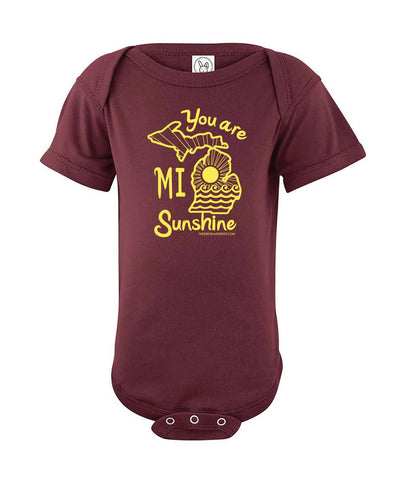 You Are MI Sunshine Onesie - Maroon - The Great Lakes State