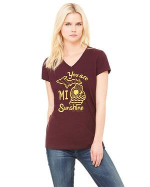 You Are Mi Sunshine - Women's Junior Fit  V-Neck T-Shirt - Maroon