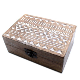 White Washed Wooden Box - 6x4 Slavic Design