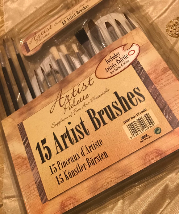 15 ARTIST BRUSHES -including Palette