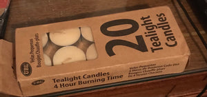 UNSCENTED BOX OF 20 TEALIGHT CANDLES - NEW