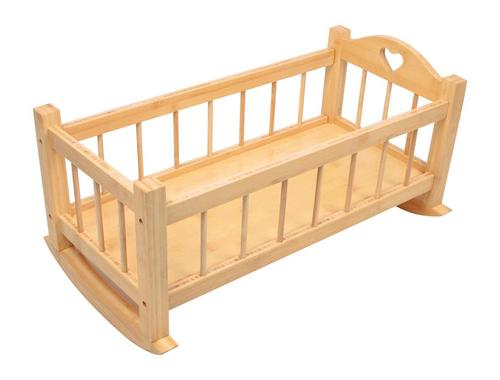 DOLLS WOODEN ROCKING CRADLE - CRIB COT BED NATURAL BROWN