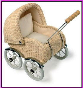 DOLLS PRAM - WICKERWORK (NATURAL BROWN COLOUR)