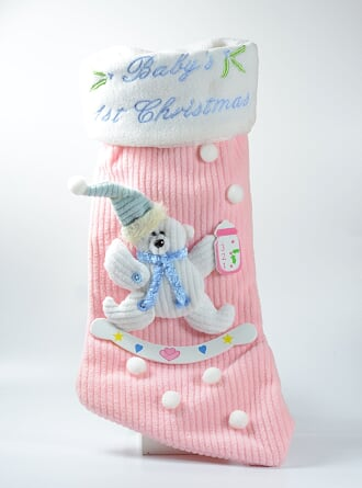 FIRST BABY GIRL CHRISTMAS STOCKING.