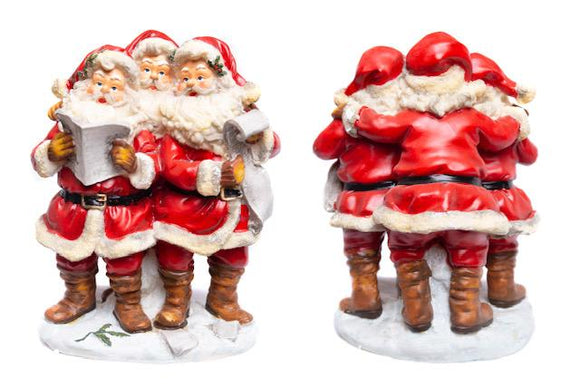 3 x SINGING SANTA FIGURINES  - STANDING